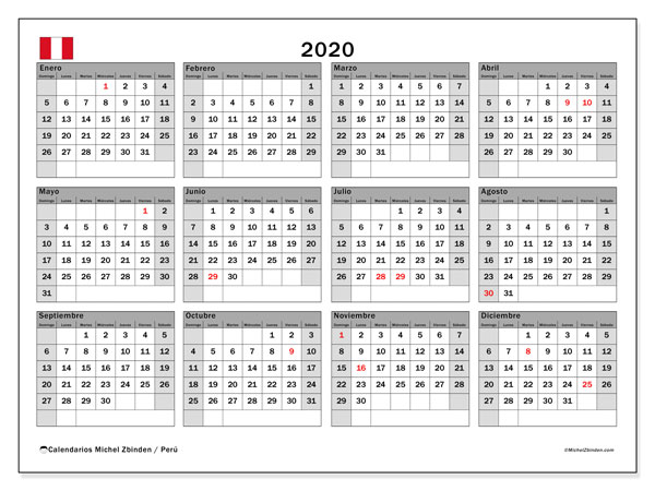 Calendarios Con D 237 As Feriados 2020 Michel Zbinden