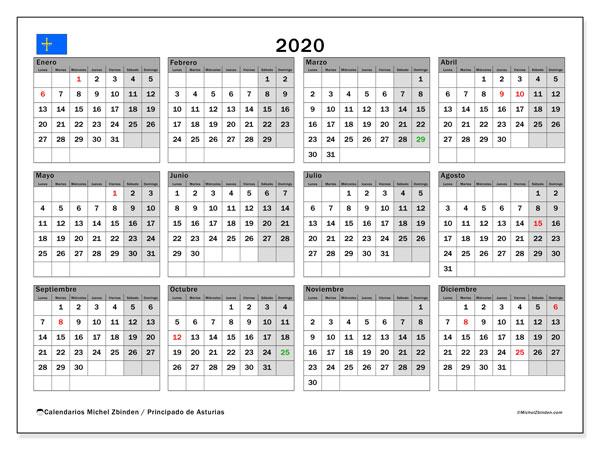 Calendario 2020, con días feriados del Principado de Asturias. Calendario vacaciones y festivos para imprimir gratis.