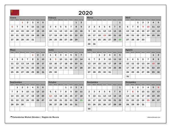 Calendario Laboral 2020 Murcia.Calendario Escolar Murcia 2020