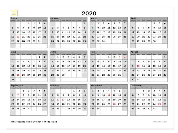 Calendario 2020, con días feriados en Rhode Island. Calendario vacaciones y festivos para imprimir gratis.