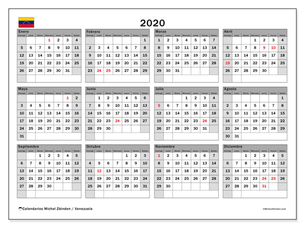 Calendario 2020 2020.Https Michelzbinden Com Es Ve Calendarios 2019 Calendario