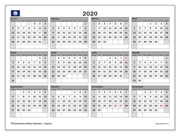 Calendario 2020, con días feriados de Virginia. Calendario para imprimir gratis con días festivos.
