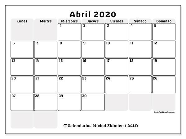 Calendario abril 2020, 44LD. Planificación para imprimir gratis.