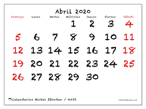 Calendario para imprimir, abril 2020, 46DS