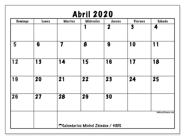 Calendario para imprimir, abril 2020, 48DS