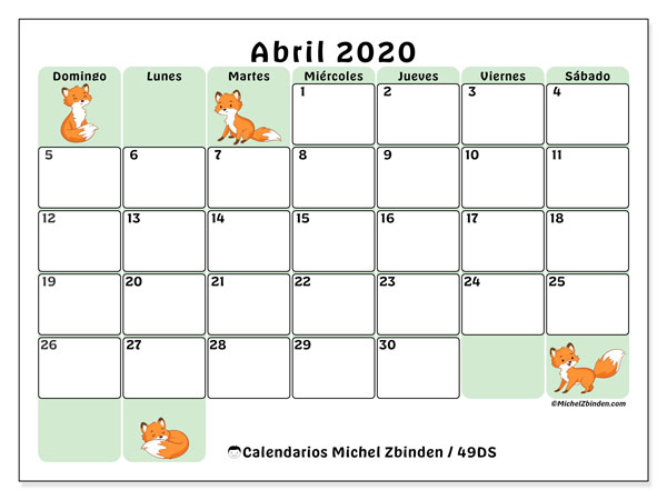 Calendario para imprimir, abril 2020, 49DS