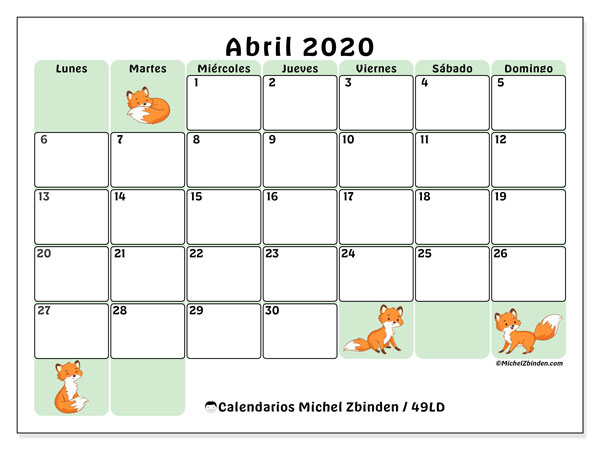 Calendario abril 2020, 49LD. Calendario para imprimir gratis.