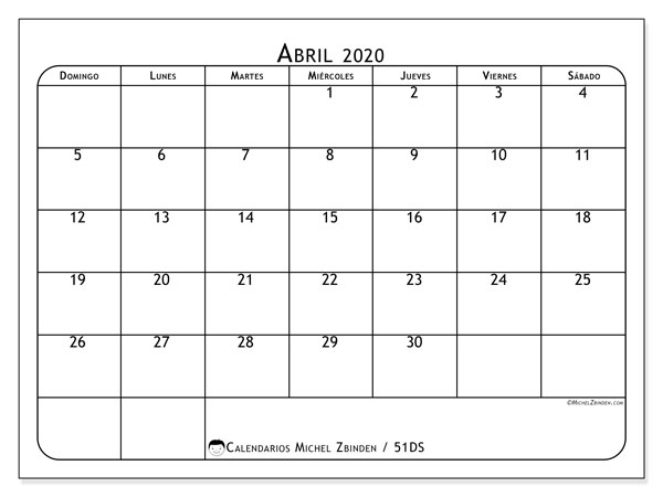 Calendario para imprimir, abril 2020, 51DS