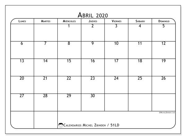 Calendario abril 2020, 51LD. Planificación para imprimir gratis.