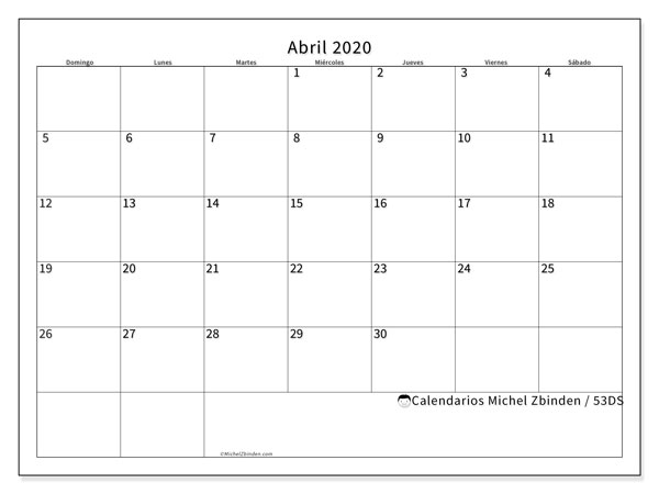 Calendario para imprimir, abril 2020, 53DS