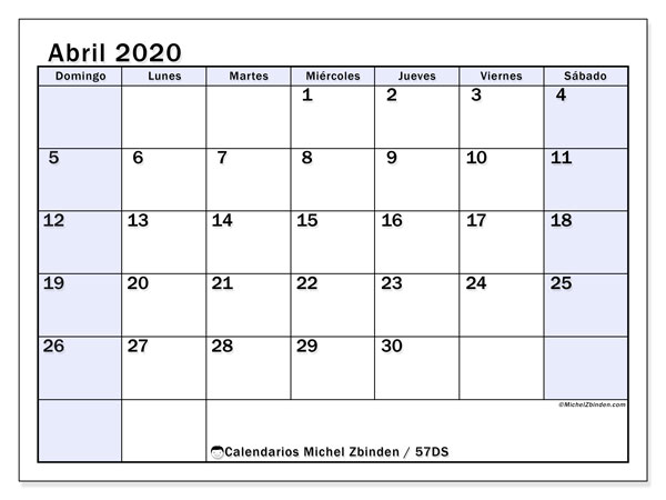 Calendario para imprimir, abril 2020, 57DS