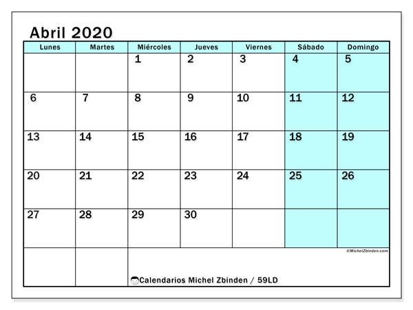 Calendario abril 2020, 59LD. Calendario para el mes para imprimir gratis.