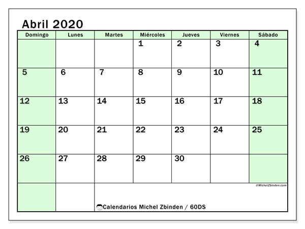 Calendario para imprimir, abril 2020, 60DS