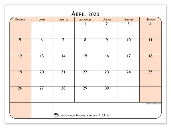Calendario para imprimir, abril 2020, 61DS