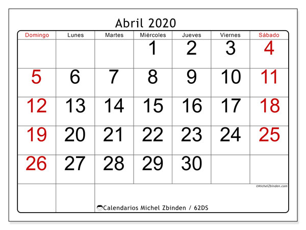 Calendario para imprimir, abril 2020, 62DS