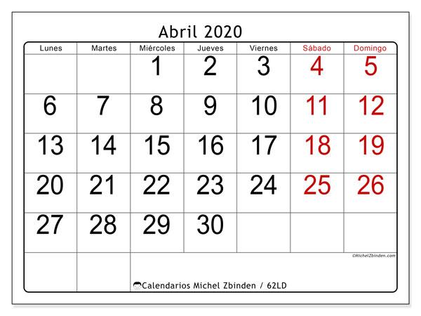 Calendario abril 2020, 62LD. Calendario para imprimir gratis.