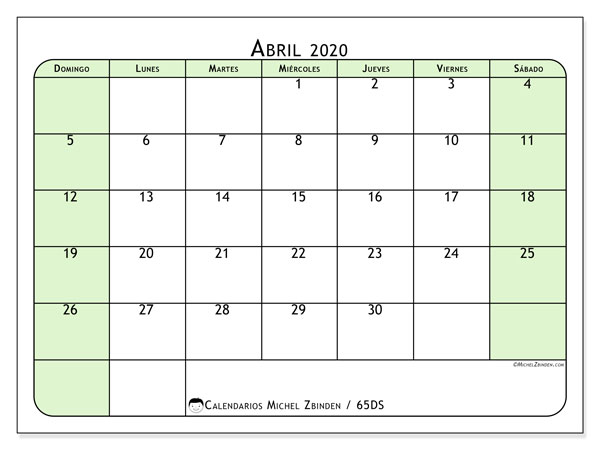 Calendario para imprimir, abril 2020, 65DS