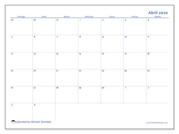 Calendario abril 2020, 73DS. Calendario imprimible gratis.