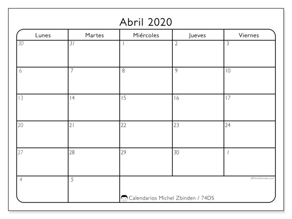 Calendario para imprimir, abril 2020, 74DS