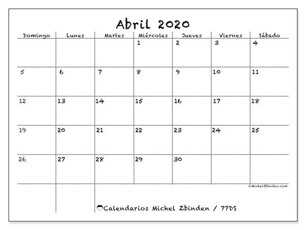 Calendario para imprimir, abril 2020, 77DS