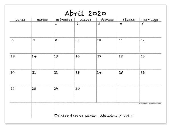 Calendario 2020 Marzo Abril.Calendario Abril 2020 77ld Michel Zbinden Es