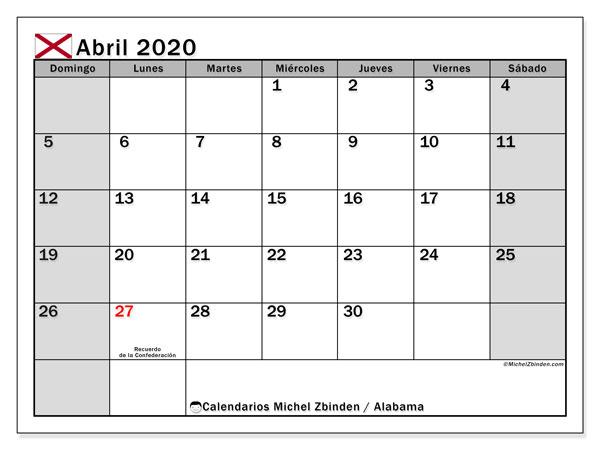 Calendario abril 2020, con días feriados de Alabama. Calendario para imprimir gratis con días festivos.