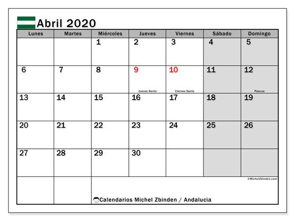 Calendario abril 2020, con días feriados en Andalucía. Calendario para imprimir gratis con días festivos.
