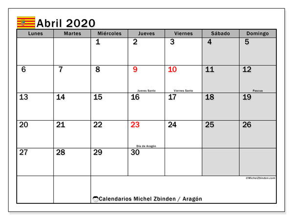 Calendario Aragón con días festivos, abril  de 2020, calendario mensual y Array.