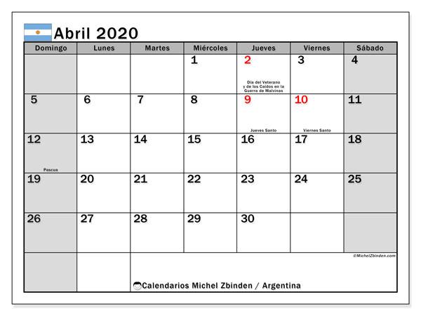 Calendario abril 2020, con días feriados en Argentina. Calendario para imprimir gratis con días festivos.