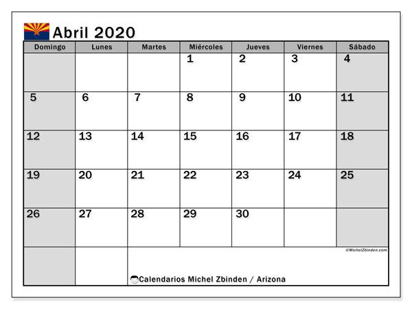 Calendario abril 2020, con días feriados en Arizona. Calendario para imprimir gratis con días festivos.