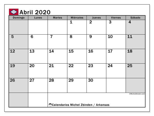 Calendario abril 2020, con días feriados de Arkansas. Calendario para imprimir gratis con días festivos.