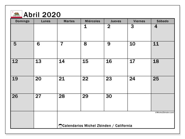 Calendario abril 2020, con días feriados de California. Calendario para imprimir gratis con días festivos.
