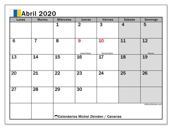 Calendario abril 2020, con días feriados en las Islas Canarias. Calendario vacaciones y festivos para imprimir gratis.