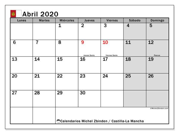 Calendario abril 2020, con días feriados en Castilla-La Mancha. Calendario vacaciones y festivos para imprimir gratis.