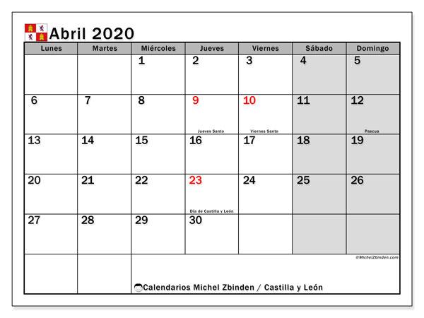 Calendario abril 2020, con días feriados de Castilla y León. Calendario vacaciones y festivos para imprimir gratis.