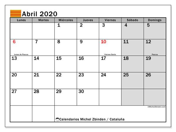 Calendario abril 2020, con días feriados en Cataluña. Calendario vacaciones y festivos para imprimir gratis.