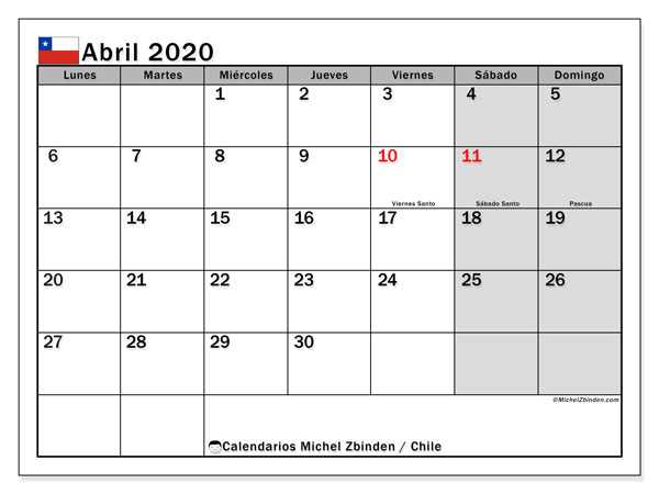 Calendario para imprimir, abril 2020, Chile