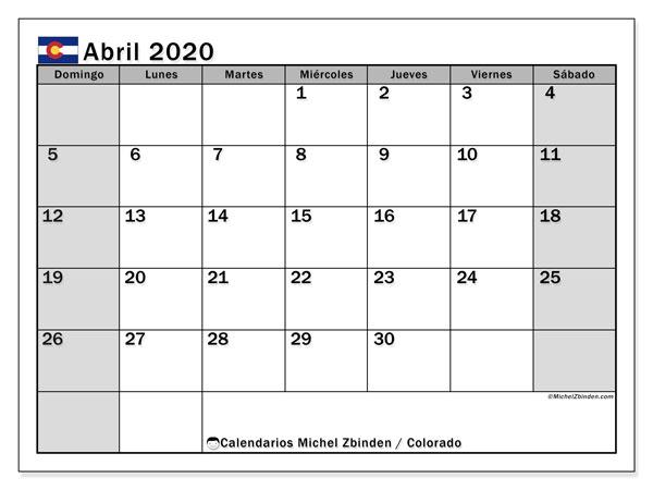 Calendario abril 2020, con días feriados en Colorado. Calendario para imprimir gratis con días festivos.