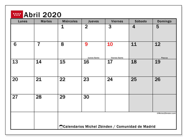 Calendario Laboral 2020 Madrid Capital.Calendario De Fiestas 2020 Madrid