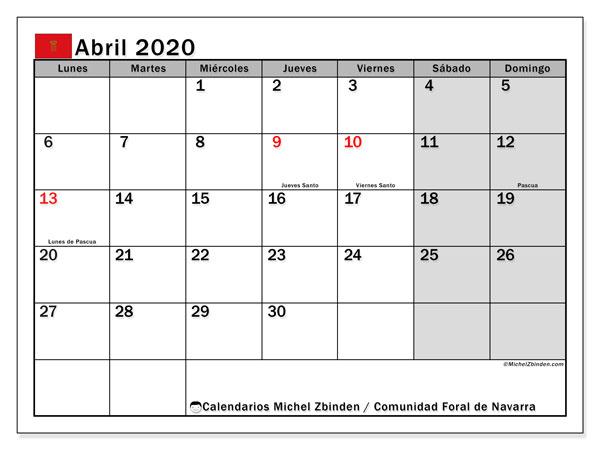 Calendario abril 2020, con días feriados de la Comunidad Foral de Navarra. Calendario vacaciones y festivos para imprimir gratis.