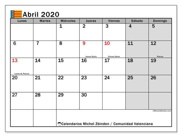 Calendario abril 2020, con días feriados de la Comunidad Valenciana. Calendario vacaciones y festivos para imprimir gratis.