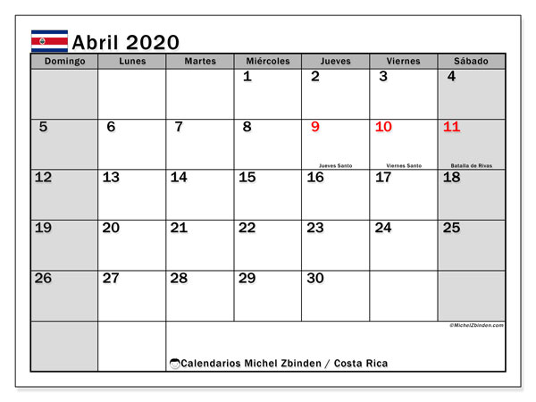Calendario para imprimir, abril 2020, Costa Rica