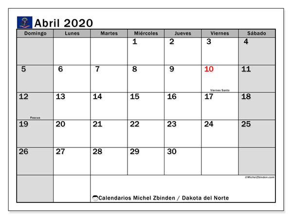 Calendario abril 2020, con días feriados en Dakota del Norte. Calendario vacaciones y festivos para imprimir gratis.