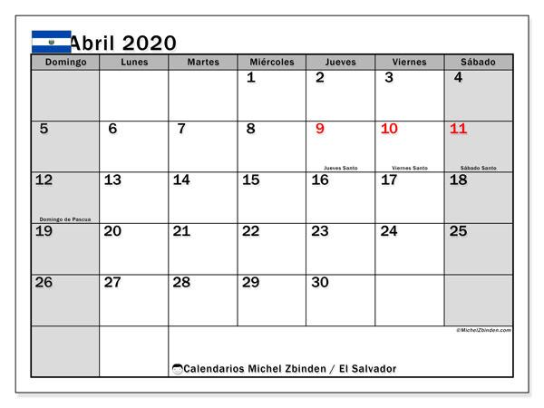 Calendario abril 2020, con días feriados en El Salvador. Calendario vacaciones y festivos para imprimir gratis.
