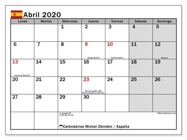Calendario 2020 Espana Con Festivos.Calendario Abril 2020 Espana Michel Zbinden Es