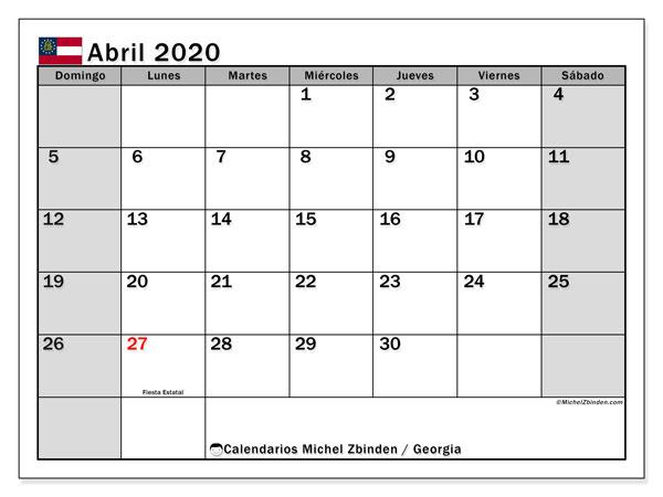 Calendario abril 2020, con días feriados en Georgia. Calendario vacaciones y festivos para imprimir gratis.