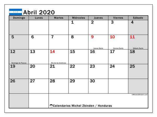 Calendario abril 2020, con días feriados en Honduras. Calendario para imprimir gratis con días festivos.