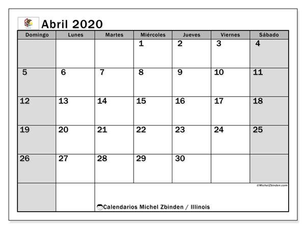 Calendario abril 2020, con días feriados en Illinois. Calendario para imprimir gratis con días festivos.