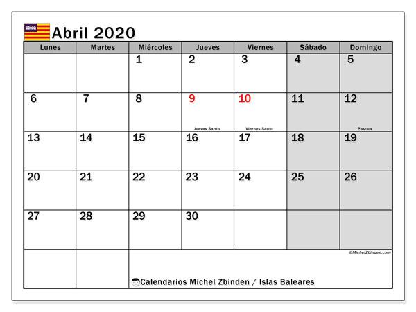 Calendario abril 2020, con días feriados en las Islas Baleares. Calendario para imprimir gratis con días festivos.