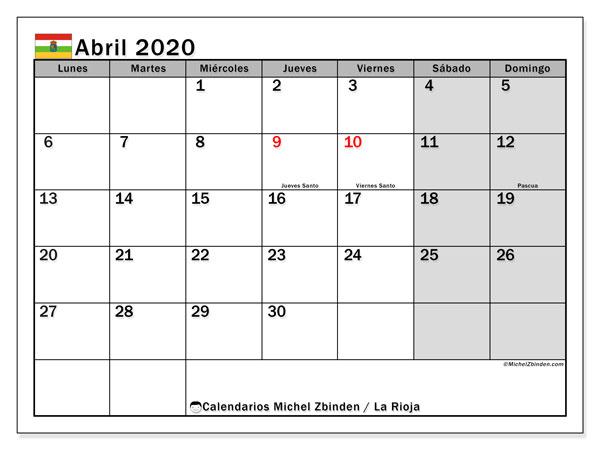 Calendario abril 2020, con días feriados en La Rioja. Calendario para imprimir gratis con días festivos.